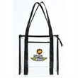 "Clear Stadium Tote Bag - Clear PVC tote bag measuring 12"" x 12"" x 6"" with an easy access main compartment and front open pocket."