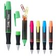 3-In-1 Executive Assistant Highlighter Pen - Twist-action ballpoint pen with chisel tip highlighter and paper clips in the barrel.