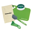 Kitchen Essentials Kit - Kitchen essentials kit with kitchen cutter, mini cutting board, measuring spoon set, and silicone spatula in canvas gift bag.