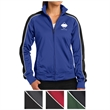 Sport-Tek Ladies' Piped Tricot Track Jacket - Ladies' track jacket with a contoured silhouette, piping, and made of polyester tricot with soft-brushed backing.