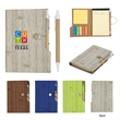 """4"""" X 6"""" Woodgrain Look Notebook With Sticky Notes And Flags"""