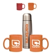 Red and Orange Hampton To Go Set - Stainless steel beverage carrier and two 11 oz Hampton ceramic mugs set, gift box.
