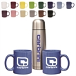 Hampton To Go Set - Stainless steel beverage carrier and two 11 oz Hampton ceramic mugs set, gift box.