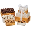 Four-Tier Tower - Bakery Item, Nuts, Pretzels - Four-tier tower with almond tea cookies, chocolate chip cookies, mixed nuts, and truffles  Great food gift.