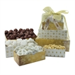 Four-Tier Tower - Bakery, Peanuts, Truffles - Four-tier tower with almond tea cookies, chocolate pretzels, roasted peanuts, and truffles  Great food gift.
