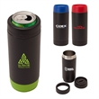 "Frosty 18oz. Double Wall Steel Tumbler/Cooler - 3"" x 7.75"" x 3"" Frosty 18-ounce double-wall stainless steel tumbler and can cooler with spillproof sliding closure."