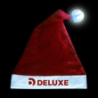 Light-Up Santa Hat - One-size-fits-all adult sized red and white felt Santa hat with LED light up tassel.