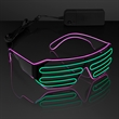 Totally '80s Pink & Green EL Wire Shades - Slotted Stunner Shades with EL Wire in Pink and Green, One Size Fits All. Blank.