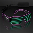 Totally '80s Pink & Green EL Wire Shades - Slotted Stunner Shades with EL Wire in Pink and Green, One Size Fits All. 5 Business Day Imprint Production.