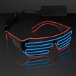 Totally '80s Red & Blue EL Wire Shades - Slotted Stunner Shades with EL Wire in Red and Blue, One Size Fits All. Blank.