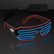 Totally '80s Red & Blue EL Wire Shades - Slotted Stunner Shades with EL Wire in Red and Blue, One Size Fits All. 5 Business Day Imprint Production.