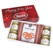 Gourmet Mustard Set With Pretzels In Gift Box - Gourmet mustard set with 4 type of gourmet mustards and pretzels in gift box.  Great food gift for the holidays or Christmas.