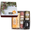 Deluxe Charcuterie Gourmet Meat & Cheese Set In Gift Box - Gourmet meat & cheese set in a gift box. Includes mustard, crackers, salami, cheeses. Great food gift for the holidays.