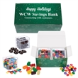 Cube Shaped Candy Set - Corporate gift box conatiners with jelly beans & gummy bears, or chocolate almonds & compare to M&M®candy.  Great food gift.