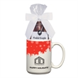 15 Oz. Full Color Mug & Stuffer with Two Packs of Hot Cocoa - Dye Sublimated Stoneware mug stuffer with two packs of cocoa. Great drinkware & corporate food gift for the holidays or Christmas.