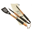 """Wood BBQ Set - Wooden barbecue gift set with 4""""H x 20""""W multi-use tool and 1-1/4""""H x 18-3/4""""W tongs in 21""""H x 6-3/4'W canvas gift bag."""