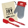 Hot Stuff Kit - Hot stuff kitchen gift set with silicone oven mitt, spoon, and spatula in a canvas gift bag.