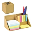 Sticky Notes Cube - Recycled cardboard cube that unfolds to display 5 colors of sticky flags, 5 colors of notepads and one pad of sticky notes.