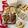 Classic Three-Tier Holiday Cookie Tower - Three keepsake wooden boxes filled with shortbread and sugar cookies.