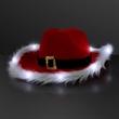 Cowboy Santa Claus Christmas Hat, White Light Fur Trim