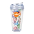 16 oz Krystina Tumbler with Candy - 16 oz. clear tumbler with secure screw-on lid and filled with candy.