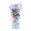 16oz Krystina Tumbler with Taffy - 16 oz. clear tumbler with secure screw-on lid and 22 piece of taffy.