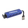 """4 Port USB Hub-Closeout - 3"""" long USB hub with slide-out phone stand and four ports to connect up to four devices at once."""