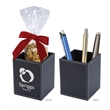 Faux Leather Pen Cup Set - Executive pen cup with 5 oz. filler of cashews or chocolate almonds, pens not included