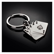 The Royal Flush Key Chain - A satin metal key chain in the shape of playing cards making a royal flush in poker.