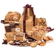 Ultimate Cookie & Brownie Tower - Gold striped tower filled with cookies, brownies, and other food items