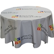 """Full Color Round Table Covers for 4' Diameter Tables - 94"""" round table cover for 4' diameter tables, made of flame retardant polyester with 22"""" drop."""