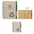 """Eco-Inspired 5"""" x 7"""" Spiral Notebook & Pen - Eco-friendly spiral notebook and matching pen with elastic pen loop."""