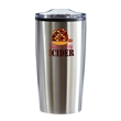 Color Splash Economy 20 oz Stainless Steel Tumbler - 20 oz. stainless steel tumbler with double wall outer shell, plastic liner, non-slip base and clear lid with slide closure.