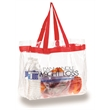 "Clear PVC Tote - See through tote bag with colored stripe running through web handles that are 18"" long."