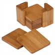 Bamboo 6 Piece Coaster Set - Convey your message with warmth and beauty on a earth friendly 6 piece coaster set with base. Square or Round Coaster Set avail.