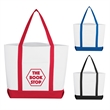 """Pocket Shopper Tote Bag - Tote Bag.  Made of 600 Denier Polyester with PVC Backing.  Matching Bottom Gusset and 16"""" Handles.  Spot Clean/Air Dry."""