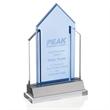 Indigo Peak Award - Optical crystal and blue glass award on aluminum base. A great award for those who overcome challenges.