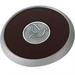 Round Brushed Zinc Coaster - Leather coaster with brushed zinc finish.