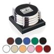 "Four Coasters with Black Acrylic Tray - Four Coasters with Black Acrylic Tray. 4"" sq. x 2-1/4""h."