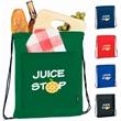 Koozie® Drawstring Backpack Kooler - Drawstring Backpack Kooler.  Nylon drawstring backpack with insulation.  Front slip pocket for additional storage.