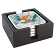 """Square Radiant Coasters with Wood Tray - Four - Square Coasters with Wood Tray. 4-3/4""""w x 4-3/4""""h x 1-7/8""""d."""