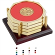 Four Octagon Coasters w/ Solid Cherry Tray - Four Octagon Coasters w/ Solid Cherry Tray.