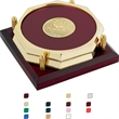 """Two Octagon Coasters with Cherry Tray - Two Octagon Coasters with Cherry Tray. 3-3/4""""w x 3/8""""h x 3-3/4""""d."""