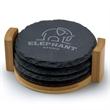 4 Piece Slate Coaster Set with Bamboo Stand - 4 piece round slate coaster set.