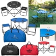 Table and Chairs To Go - Round table with four mesh cup holders and two foldable stools; carry bag included.