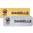 "Charleston Name Badge (Standard Sizes) - 1"" x 3"" single-ply metallic plastic name badge. Rectangular with rounded or square corners."