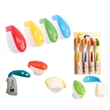 Toothbrush Cover Cap Holder with Suction Mount Smile Face  - Toothbrush Cover Cap Holder with clear Suction Mount and a Smile Face design