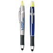 TriVantage™ Pen+Stylus+Highlighter - Twist Pen with Touch stylus at tip plus highlighter, metal clip and rubberized black grip.