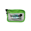 Dental Sport Kit - Mini clear clip pouch including toothbrush, toothpaste, and dental floss.