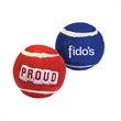 """Tennis Ball Toy - Non-pressurized tennis ball pet toy in blue or red measuring 2.5"""" x 2.5"""" and decorated in the USA."""